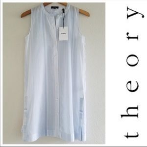 Theory Easy Button Front Tunic blue white stripe